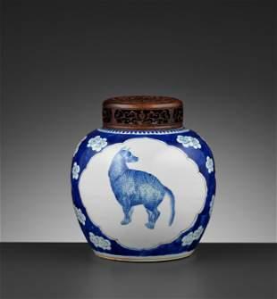 A BLUE AND WHITE GINGER JAR, KANGXI