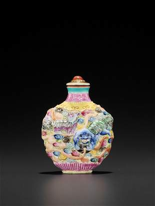 A MOLDED PORCELAIN SNUFF BOTTLE & MATCHING STOPPER QING