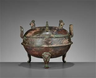 AN ARCHAIC TRIPOD VESSEL, DING, WARRING STATES