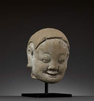 A SANDSTONE HEAD OF A LUOHAN, MING DYNASTY