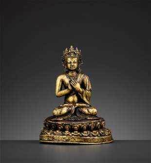 A GILT BRONZE FIGURE OF A CROWNED BUDDHA, DATED 1709
