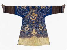 A GOLD-EMBROIDERED BLUE-GROUND JIFU ROBE, QING DYNASTY
