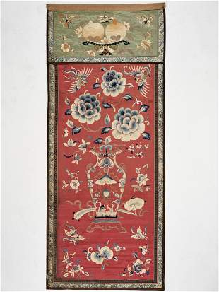 AN EMBROIDERED SILK HANGING, QING DYNASTY