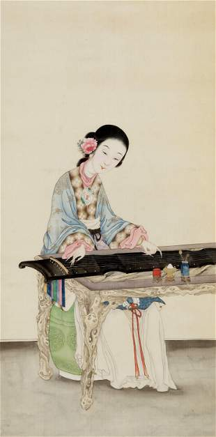A LADY PLAYING THE QIN', IMPERIAL SCHOOL, QING DYNASTY