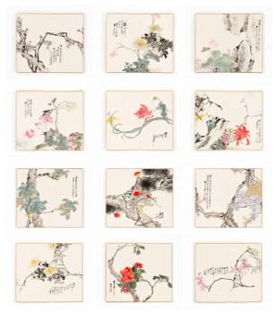 TWELVE FLORAL STUDIES BY SHAO SHENG, LATE REPUBLIC