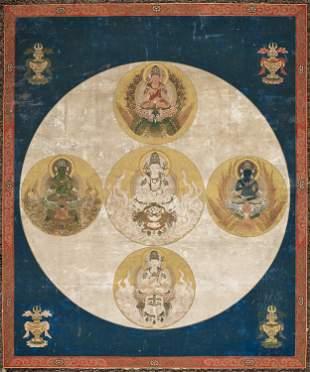 A RARE MANDARA OF THE GODAI KOKUZO BOSATSU, 16TH-17TH