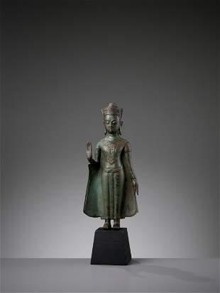 A THAI BRONZE FIGURE OF BUDDHA, AYUTTHAYA KINGDOM