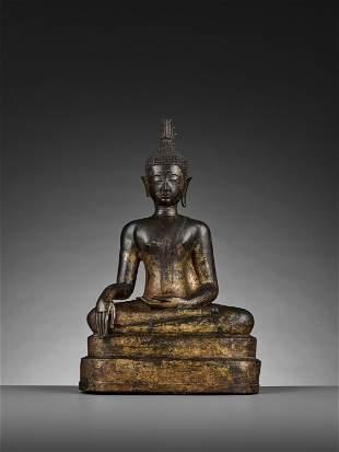 A BRONZE BUDDHA SHAKYAMUNI, CHIENG RAI, 15TH-16TH