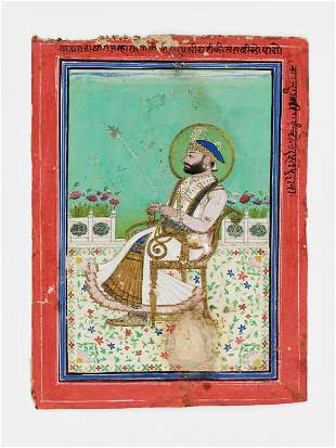 AN INDIAN MINIATURE PAINTING OF A RULER