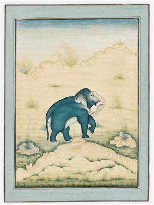 AN INDIAN MINIATURE PAINTING OF AN ELEPHANT