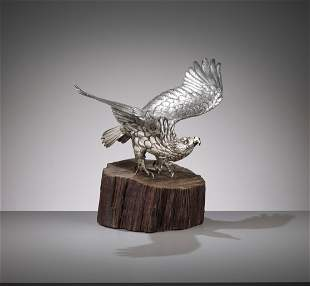 MASAMITSU: A SILVERED OKIMONO OF AN EAGLE