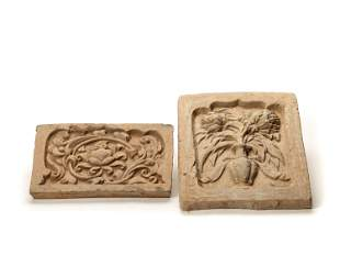 TWO TL-TESTED CHINESE CERAMIC WALL TILES, TANG