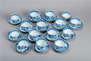 15 BLUE & WHITE CANTON TEACUPS AND 14 COASTERS