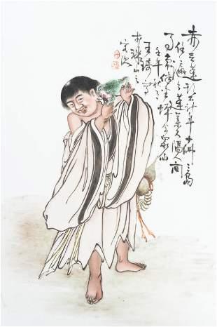 A PORCELAIN PLAQUE OF LIU HAI, AFTER WANG QI