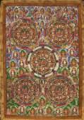 A TIBETAN '100 BUDDHAS' MANDALA THANGKA