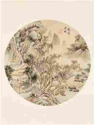 LANDSCAPE AND CALLIGRAPHY BY PU TONG (1877-1952)