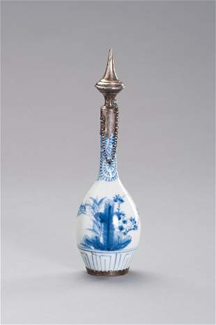 PORCELAIN FLASK WITH SILVER MOUNTING-ISLAMIC MKT