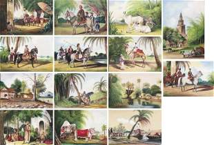 A SET OF 14 INDIAN COMPANY SCHOOL PAINTINGS