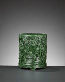 A SPINACH-GREEN JADE 'SCHOLARS' BITONG, QIANLONG