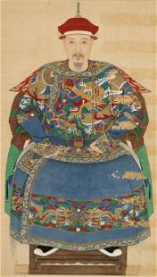 A PORTRAIT ON SILK, IMPERIAL SCHOOL, DATED 1697