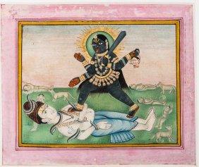 Goddess Kali Standing On Shiva