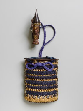 Inro-shaped Pouch And Pistol Netsuke