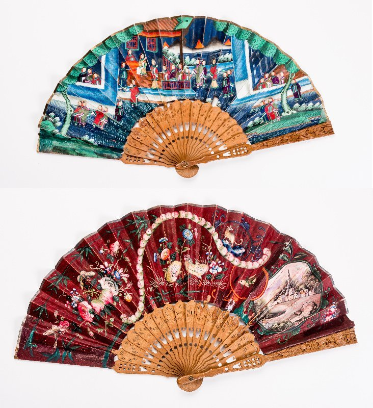 FOLDING FAN WITH FIGURATIVE SCENE, ANIMALS etc.