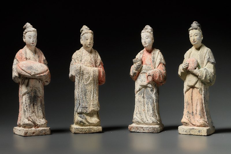 FOUR STANDING COURT LADIES WITH OFFERINGS