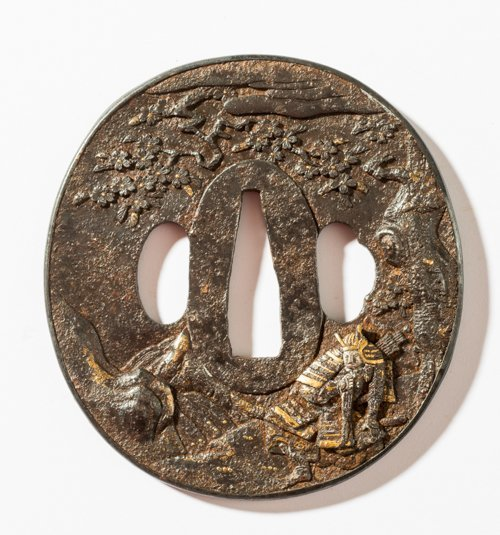 TSUBA WITH SAMURAI UNDER A TREE