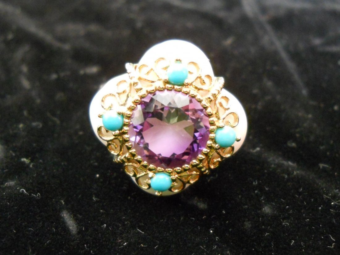 14k Gold Ring with Purple Stone