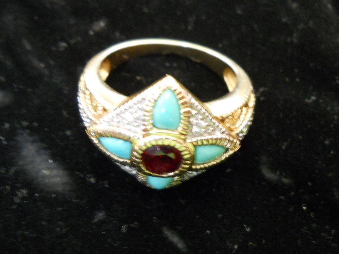 14K Gold Ring with Turquoise and  Red Stone