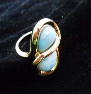 14K Gold Ring with 2 Turquoise