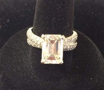 3.85cts TW 14K Gold Diamond Ring 3.51cts Center Stone