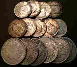 $10.50 Face Value Morgan Peace Kennedy Silver Coins