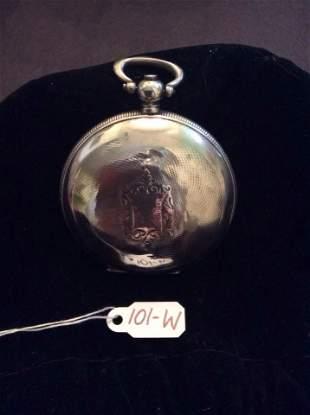 g.g. POULDJIAN Sterling Silver Pocket Watch Hunter Case