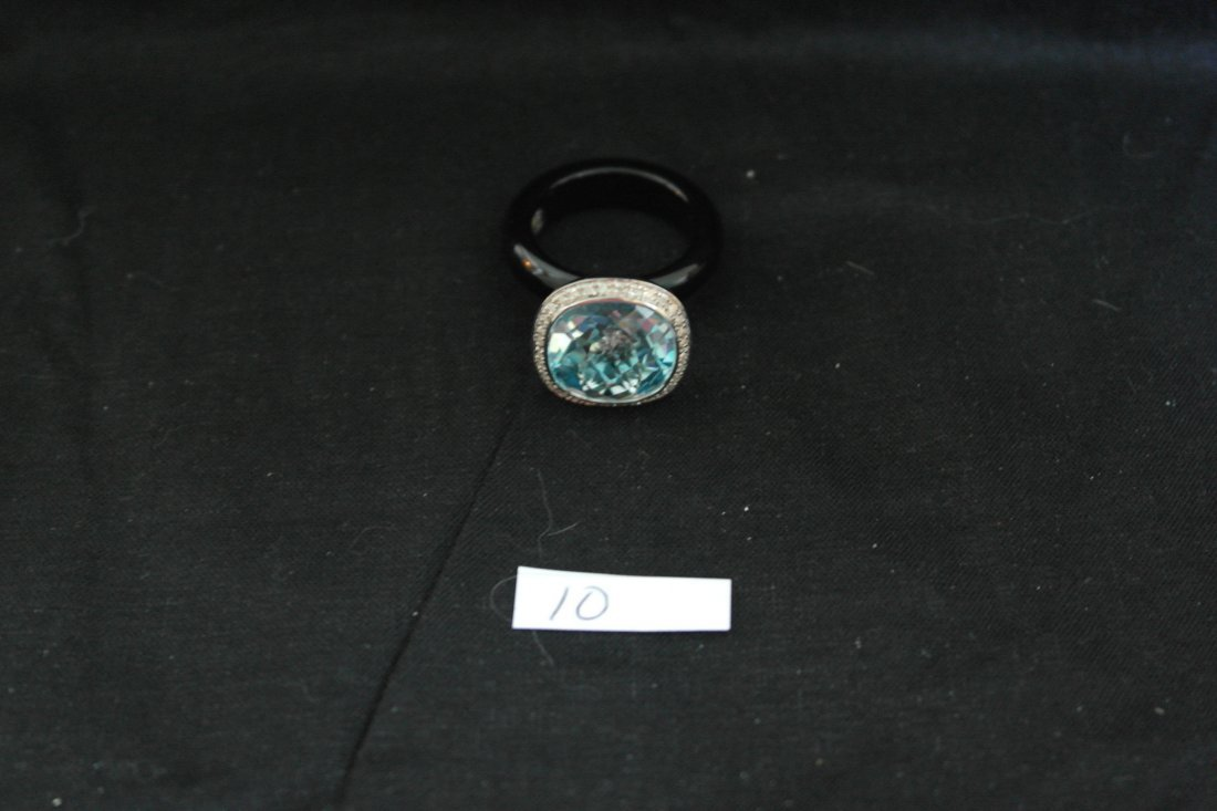 .925 Sterling Blue Topaz with Diamonds and Onix Ring
