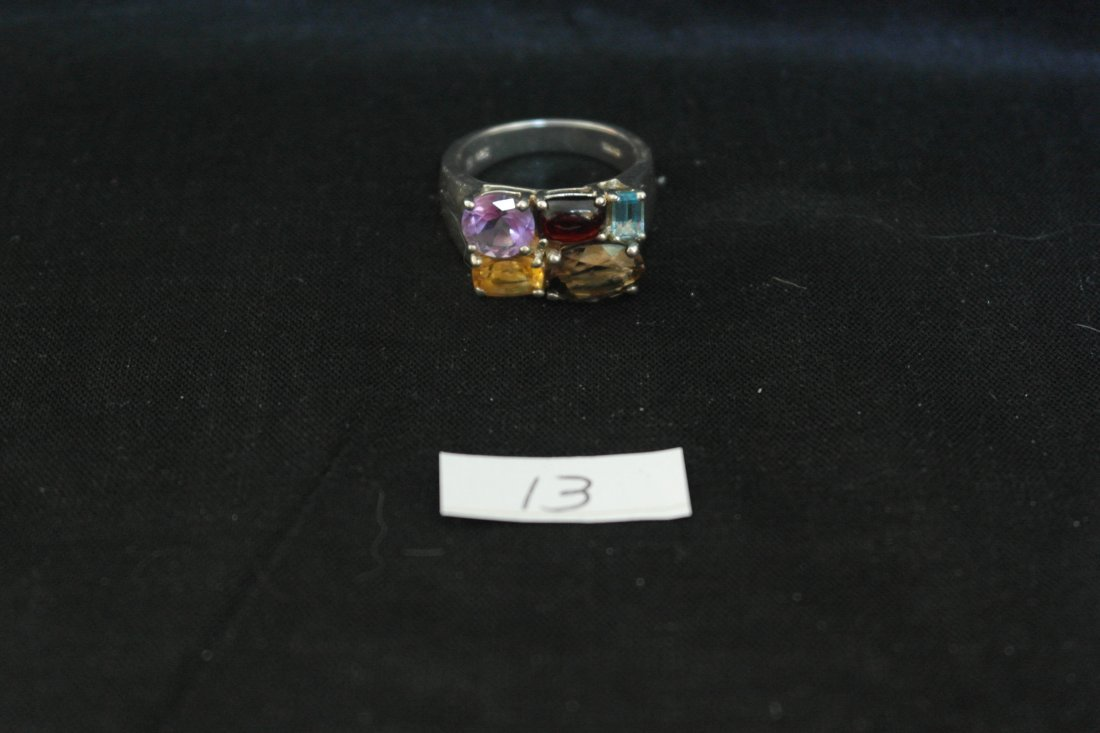 .925 Sterling Silver Semi Precious Gemstones Ring