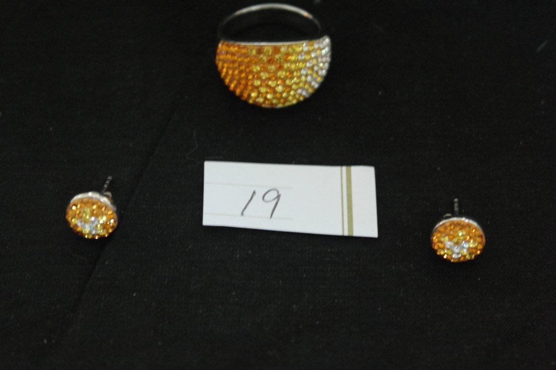 .925 Sterling Silver White and Orange Earring and Ring