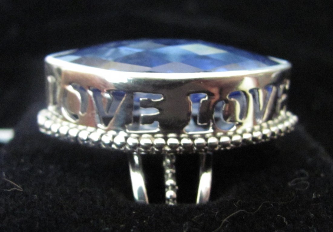 .925 Sterling Silver Blue Sapphire LOVE Ring