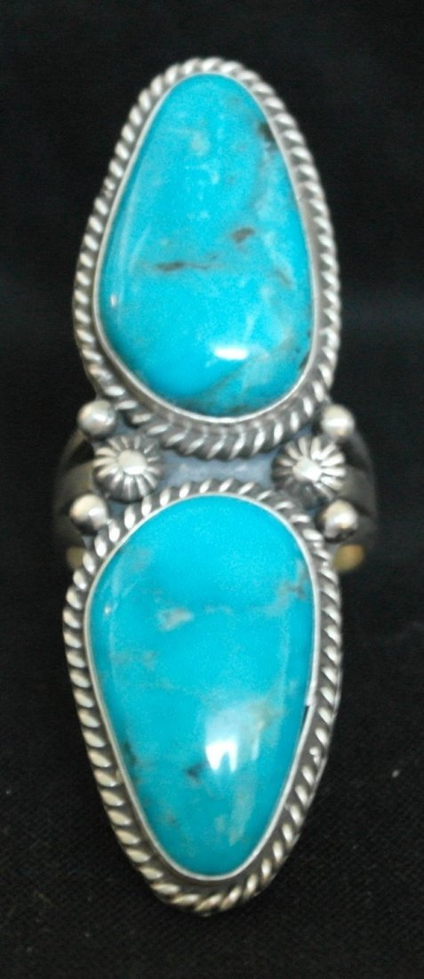 .925 Sterling Silver Large Turquoise Ring