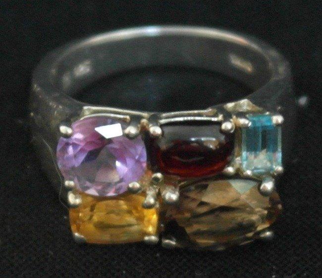.925 Sterling Silver Semi Precious Gemstones Ring