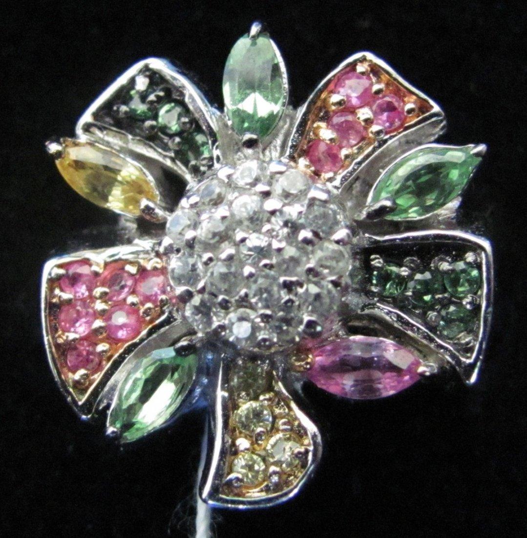 .925 Sterling Silver Multicolor Semiprecious Flower