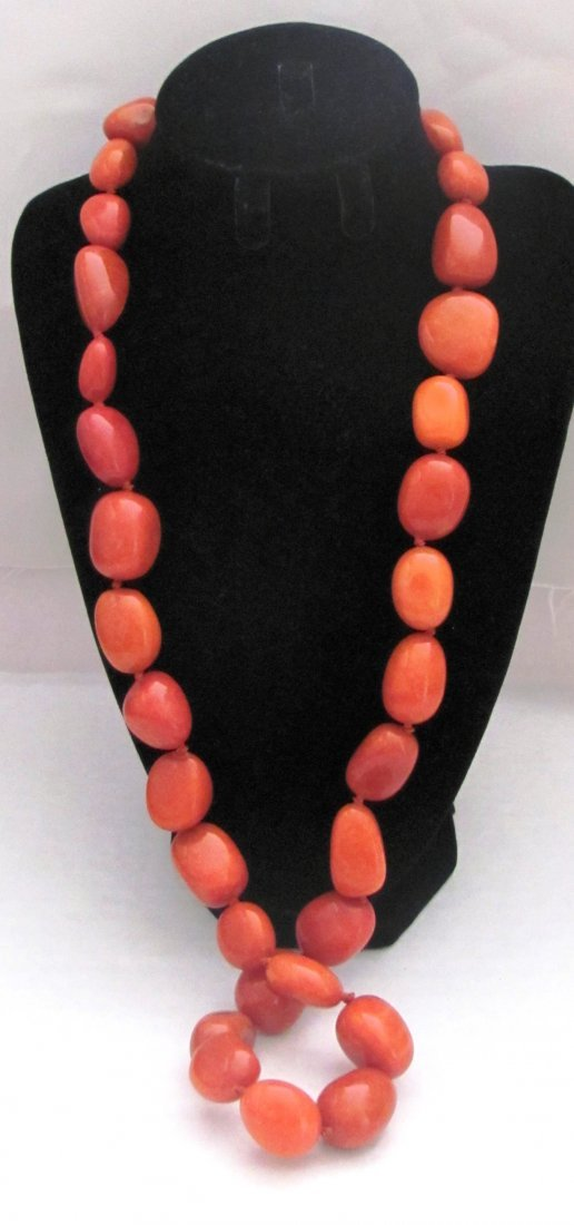 """30"""" Orange Gemstone Necklace with .92 Sterling Clasp"""