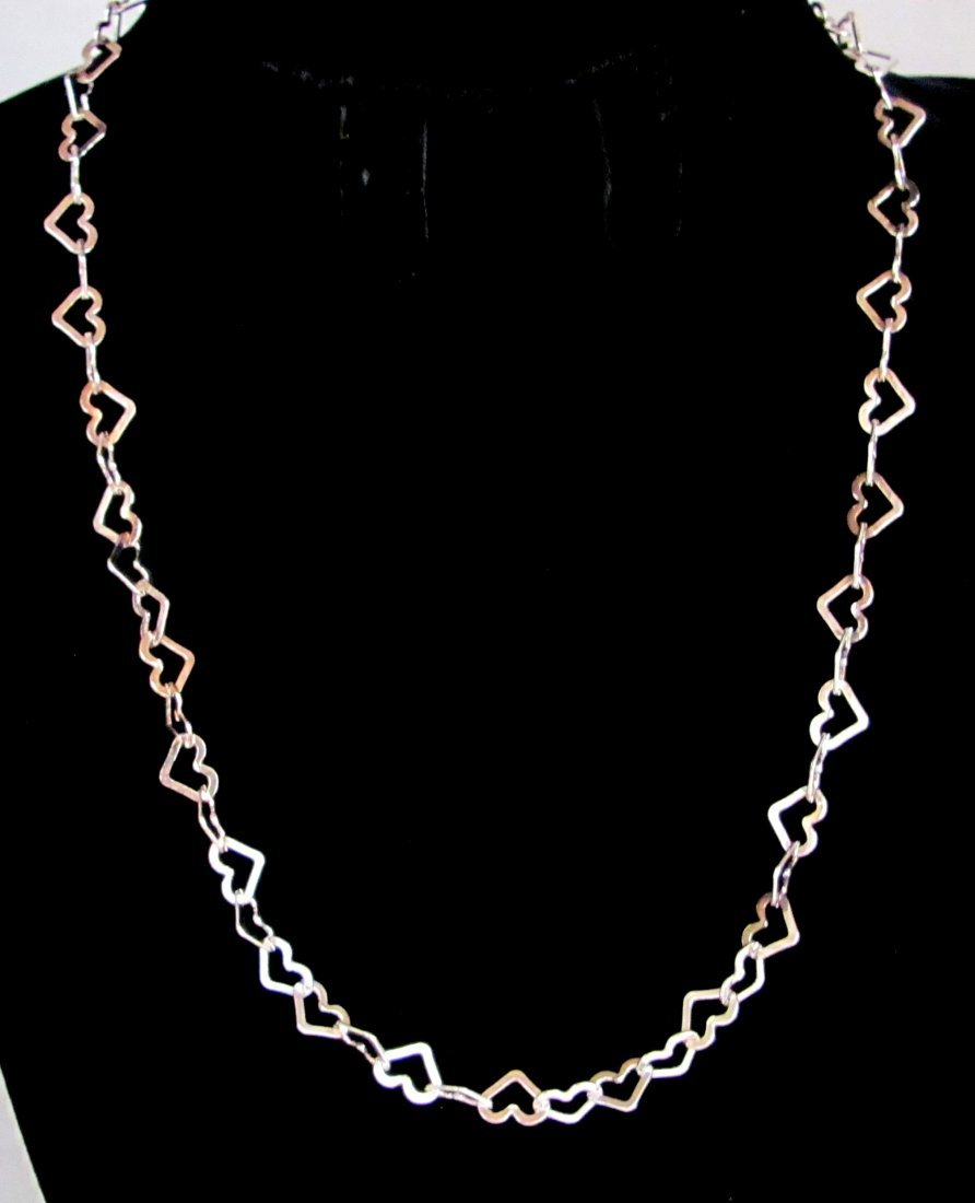 """18"""" .925 Sterling Silver Hearts Necklace"""