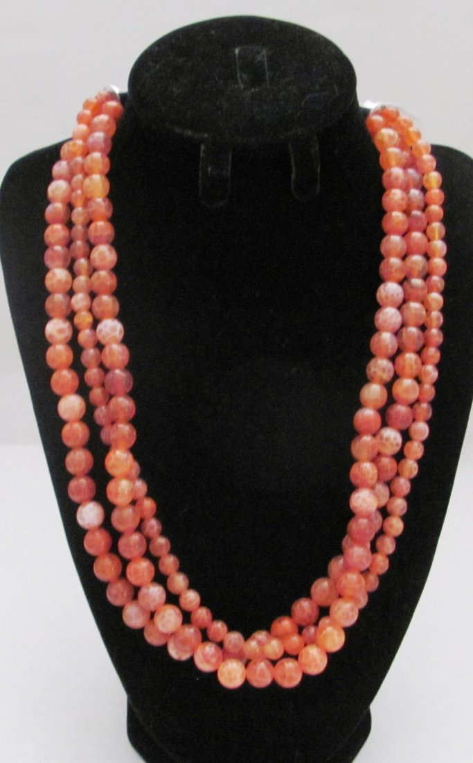 Orange Gemstone Necklace with .92 Sterling Clasp