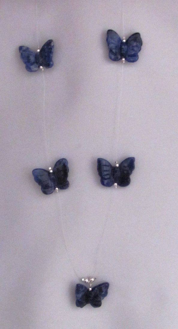 """24"""" Dumortierite Butterflies with .925 Sterling Clasp"""