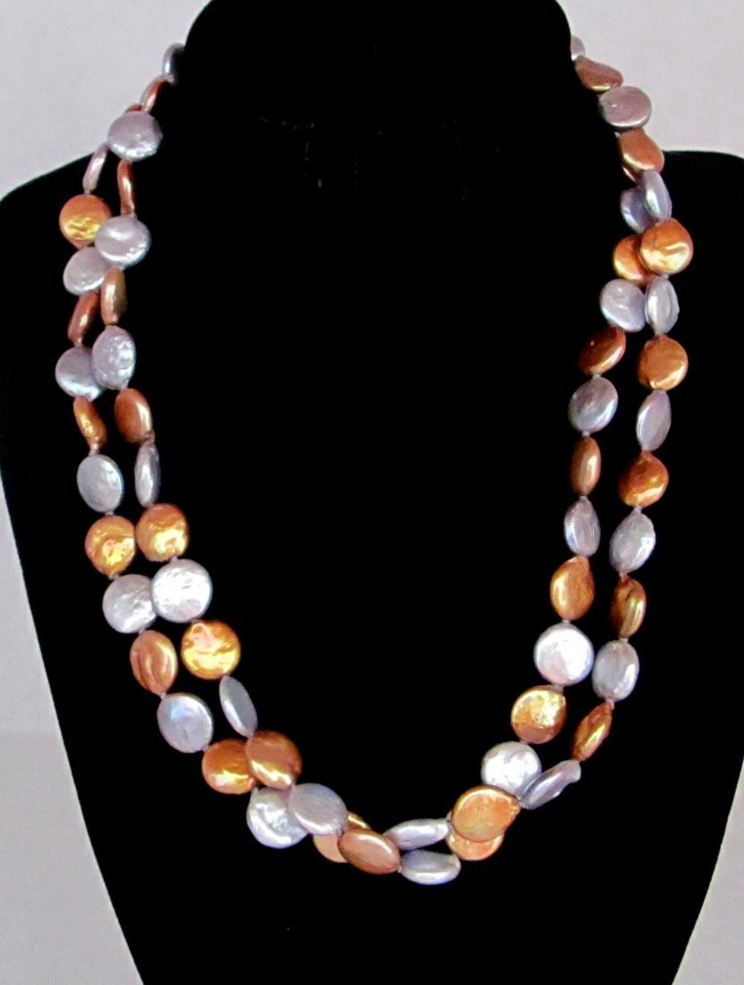 """Honora Collection 36"""" Gold and Silver Pearls .925"""