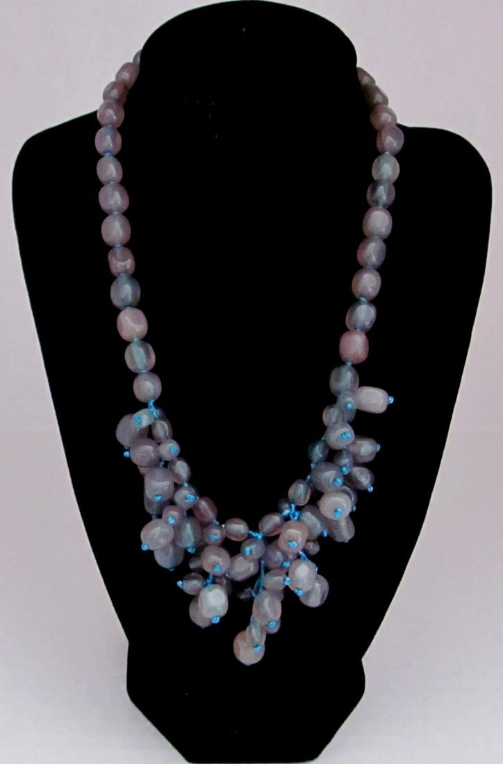 Grey Gemstone with .925 Sterling Clasp Ladies Necklace
