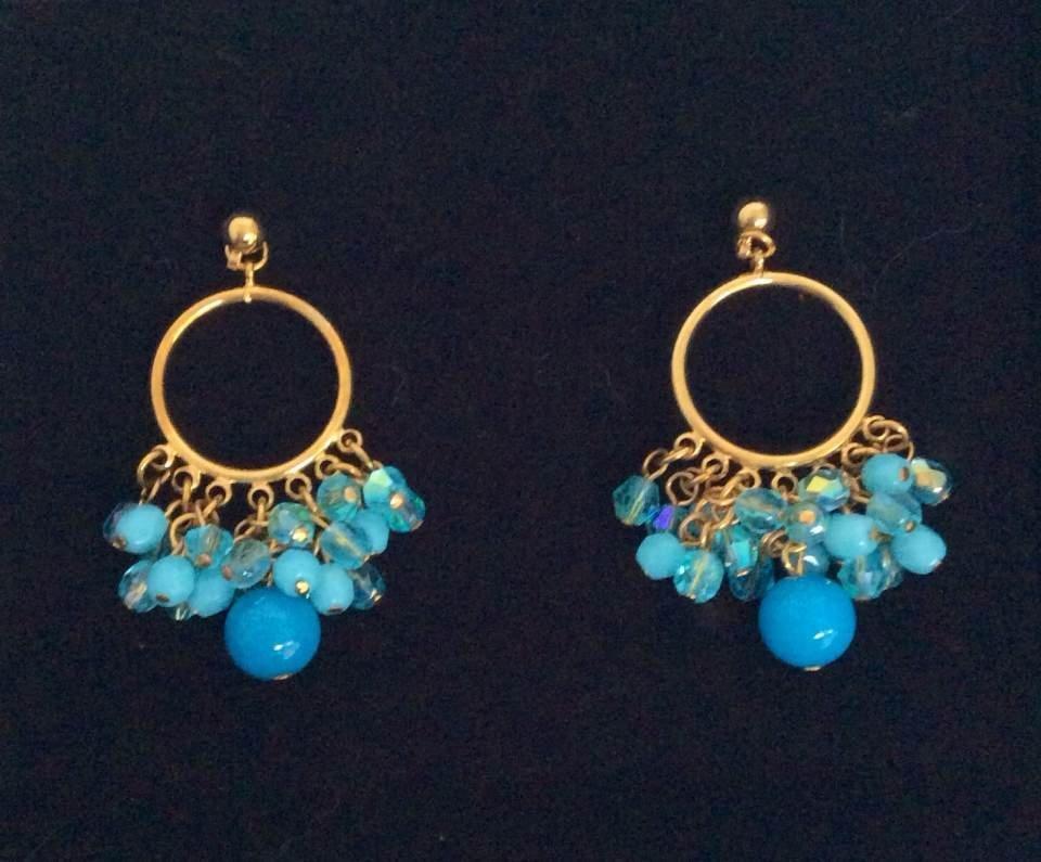 Joan Rivers Gold Tone Blue Beads Earrings