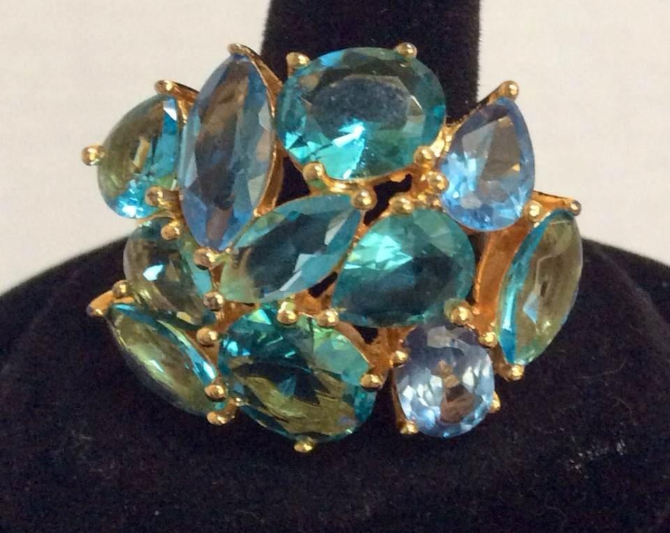 Joan Rivers Gold Tone Blue Custom Rings - Size 10